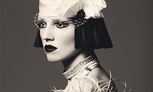 Black and white portrait of retro 1920s syle woman