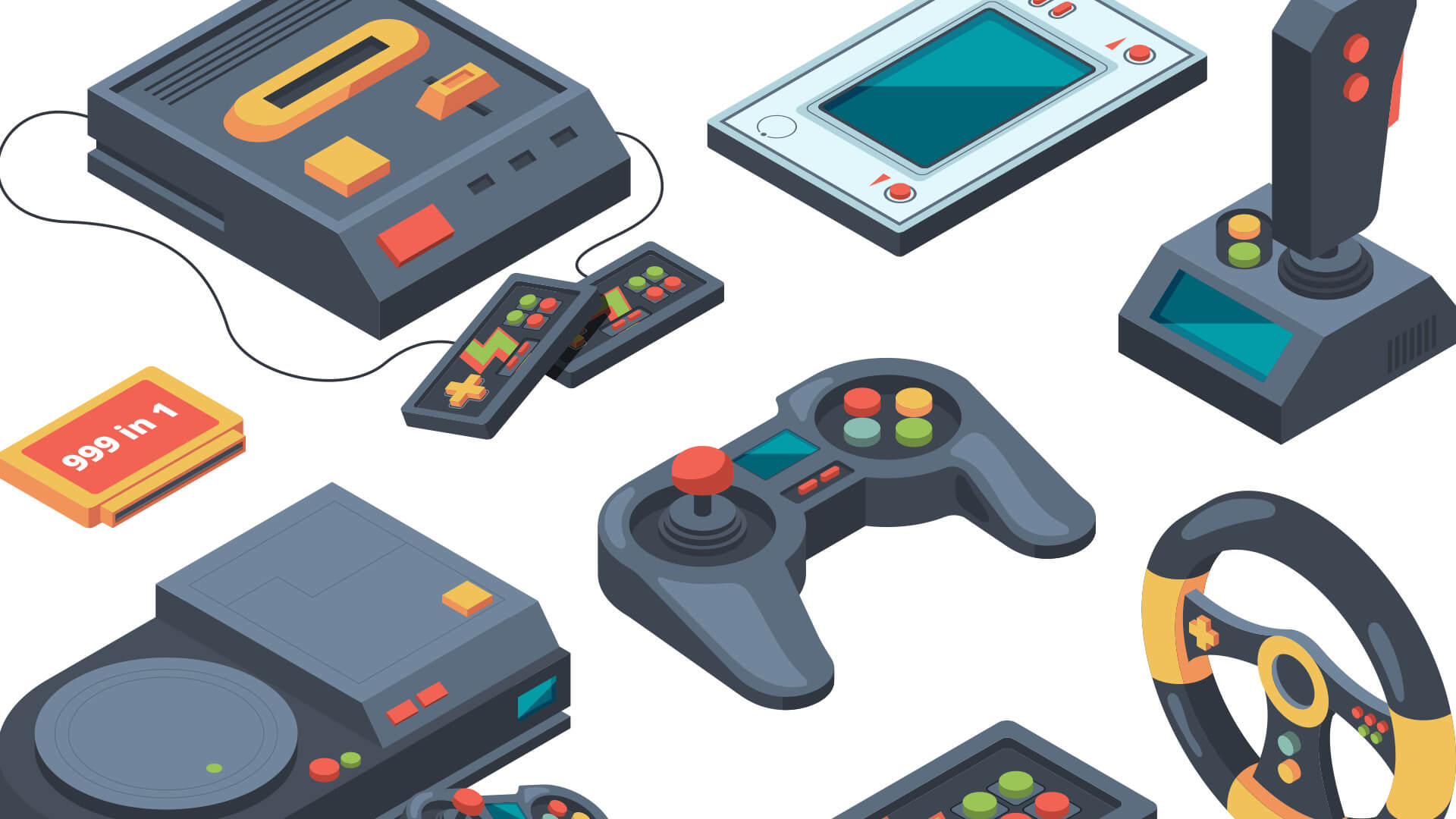 Collection of retro and modern video game consoles