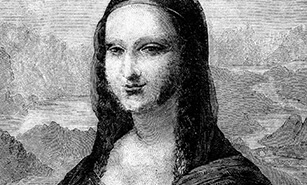Black and white artistic portrait of La Gioconda